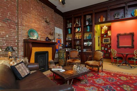 brick fireplace mantel Living Room Traditional with