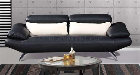 black full leather contemporary living room sofa wchrome legs