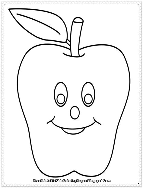 apple fruit coloring pages printable  printable kids