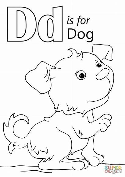 Coloring Letter Dog Pages Preschool Toddlers Alphabet