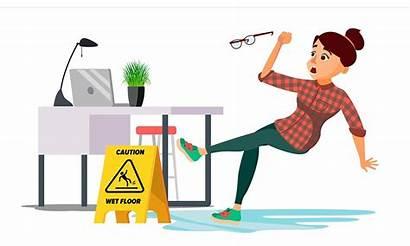 Cartoon Slips Wet Floor Woman Vector Workplace