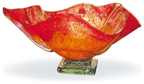 Orange Vases And Bowls by Sweiger Blown Glass Orange Glow Ruffled