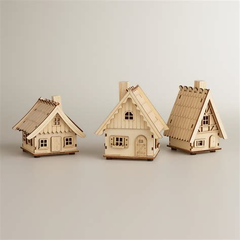 Laser-Cut Wood Houses, Set of 3