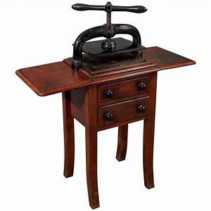 antique letter book nipping press original mahogany stand With letter table stand