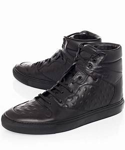 800726cdd4e9e balenciaga monochrome debossed leather high top sneakers in black for men  lyst