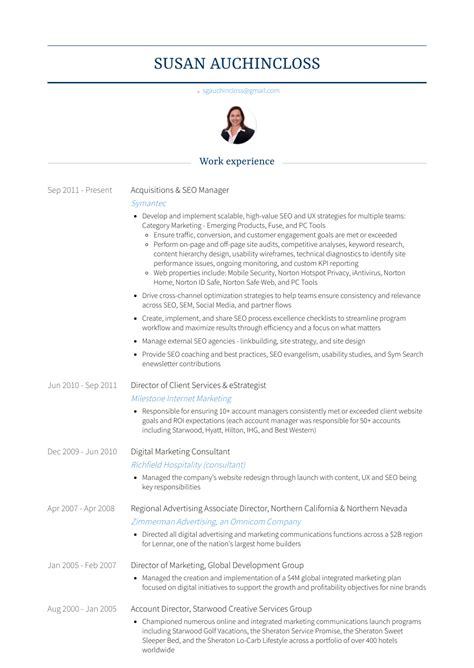Seo Resume by Seo Resume Sles And Templates Visualcv