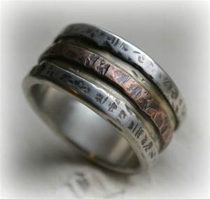 mens wedding band rustic fine silver brass and copper With men s religious wedding rings