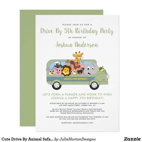 Cute Drive By Animal Safari 5th Birthday Party Invitation