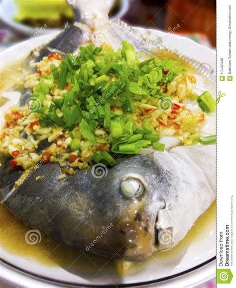 Steamed Gray Pomfret Fish With Lemon, Chili, Garlic, Fish
