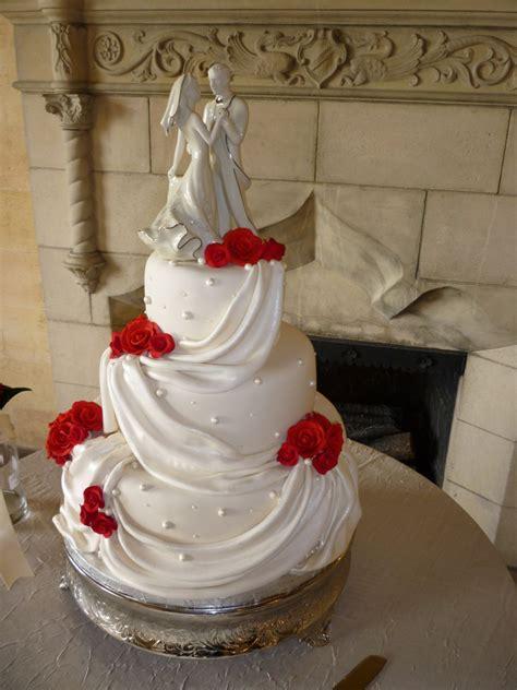 3 Tier White Wedding Cake With Fondant Drapes Edible