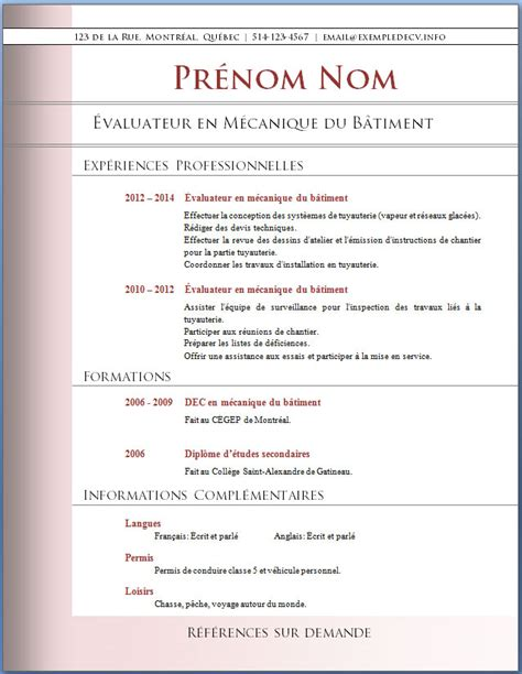Cv Exemple Professionnel by Exemple Cv Professionnel