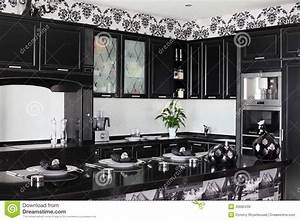 Black And White Modern Kitchen With Stylish Furniture ...