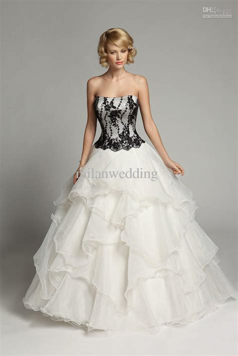 black  white wedding dresses combination fashion