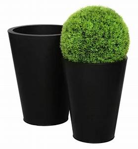 Cache Pot Exterieur : bac pour fleur rond conique haut int rieur ext rieur x 30cm noir fiberstone ~ Teatrodelosmanantiales.com Idées de Décoration