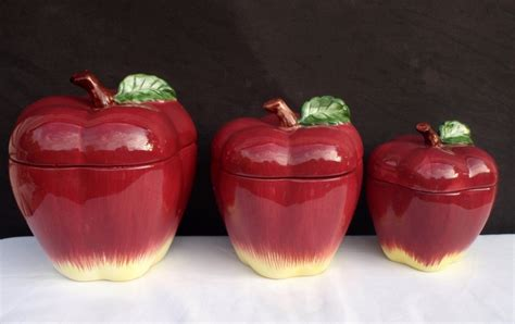 apple canisters for the kitchen apple canisters jars vintage set of 3 apple