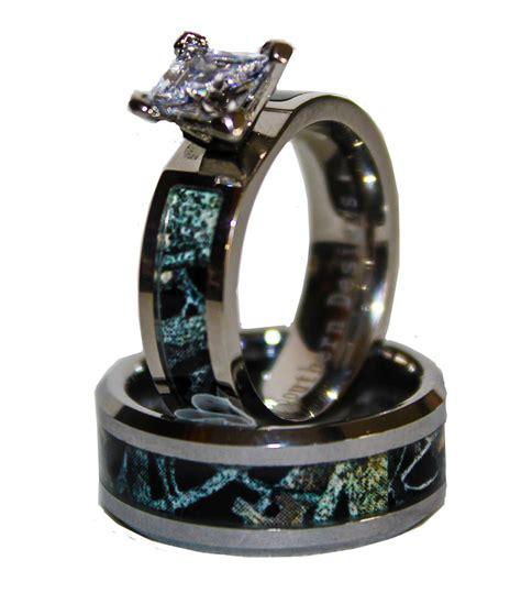 black camo  silver band couples ring set  stone