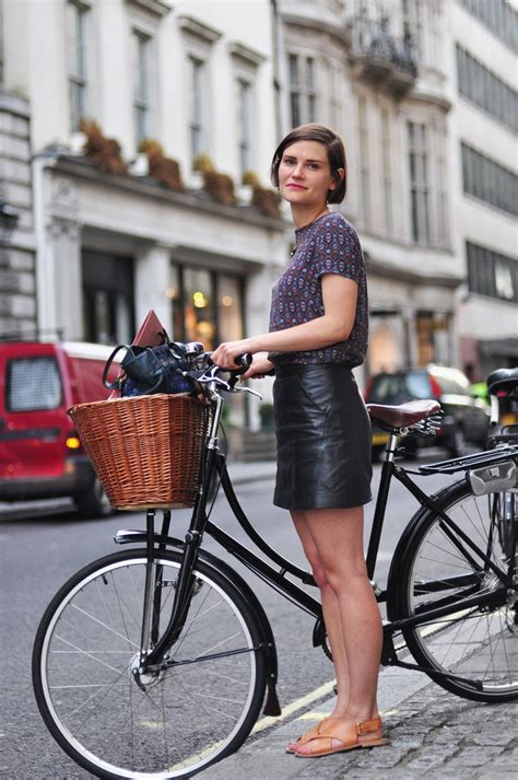 bike riding leather little bit of leather skirt bike chic in london fashion