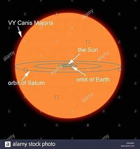 A diagram comparing the Sun to VY Canis Majoris, the ...