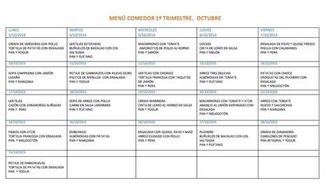 menu comedor menu comedor para octubre colegio los pinos