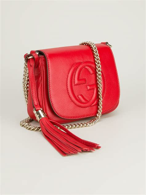 gucci soho leather shoulder bag  red lyst