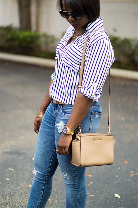 classic outfit  stripe shirt  nude