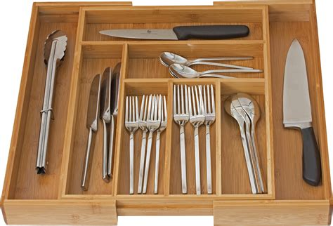 organizer drawer silverware flatware utensil cutlery kitchen dividers holder tray expandable organizers bamboo storage amazon adjustable rated cooking holders wooden