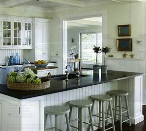 White beadboard kitchen cabinets cottage kitchen for Kitchen colors with white cabinets with set of three metal wall art