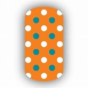 Light Orange with White & Aqua Small Polka Dots Nail Wraps