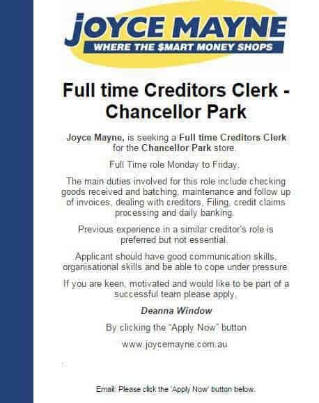 time creditors clerk chancellor park sddcw
