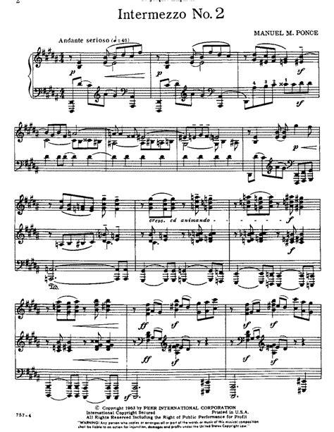 intermezzo no 2 ponce manuel imslp petrucci music