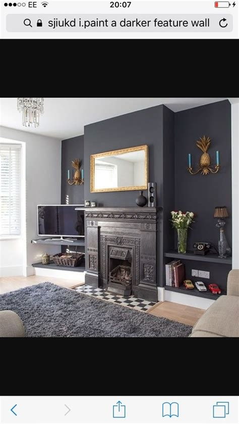 dark grey feature wall