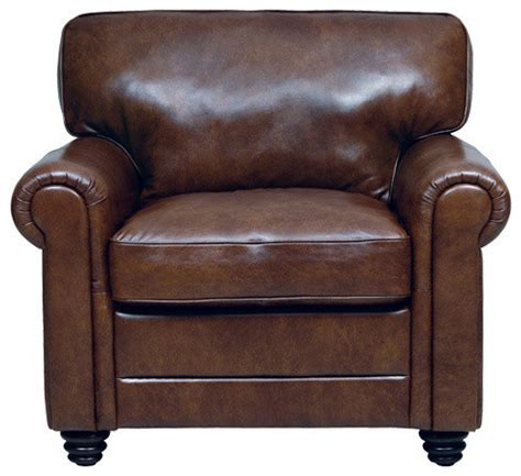 genuine italian leather chair in brown