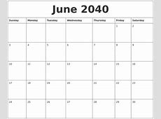 June 2040 Calendar Pages