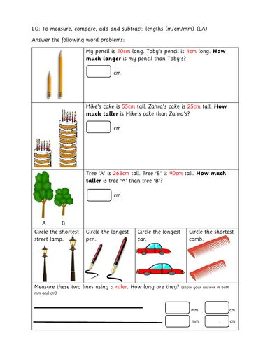 length worksheets year 3 year 3 differentiated worksheets length by