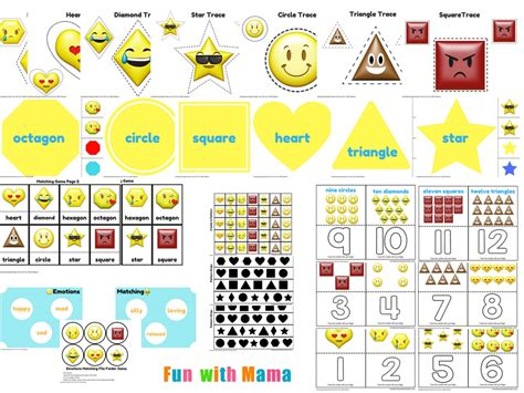 emotions shapes free printable preschool pack with 686 | Emotional Shapes Free Printable Preschool Educational Pack