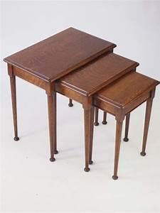 Vintage, Oak, Nest, Of, Tables
