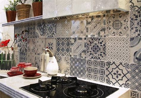 patterned tiles for kitchen pattern artisan wall tiles a mix of 14 different 4108