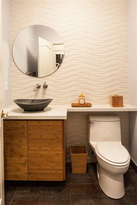 wave goodbye says the new wall tile to the powder room