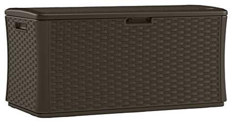 suncast 134 gallon deck box assembly suncast bmdb134004 wicker resin deck box 134 gallon