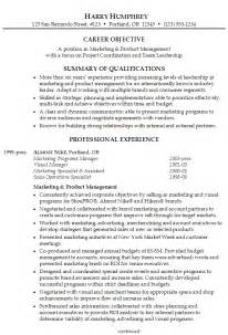 resume for product marketing manager resume marketing and product management