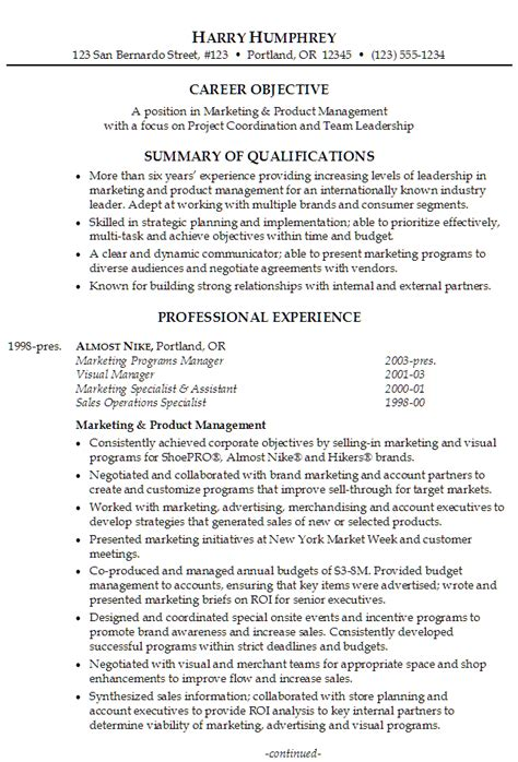 Professional Summary Exles For Marketing Resume by Resume Marketing And Product Management