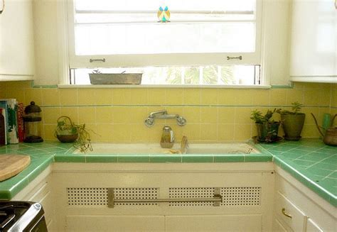 yellow and green tile   sunny kitchen   Pinterest