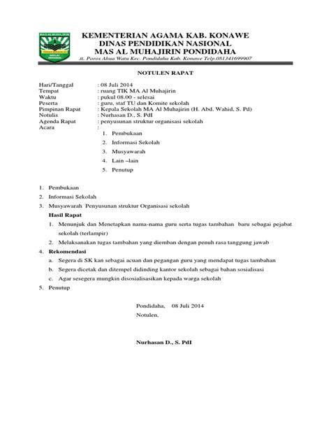 Contoh Bentuk Notulen Rapat by Notulen Rapat Penyusunan Struktur Organisasi Sekolah