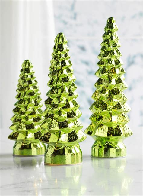 glass light up christmas tree melrose light up green mercury glass christmas trees set