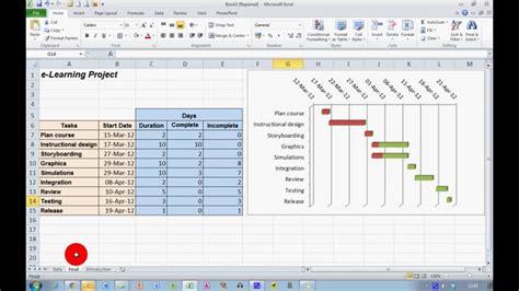 create  progress gantt chart  excel