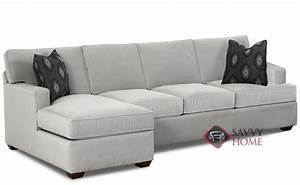 Lincoln fabric chaise sectional by savvy is fully for Sectional sleeper sofa with queen bed