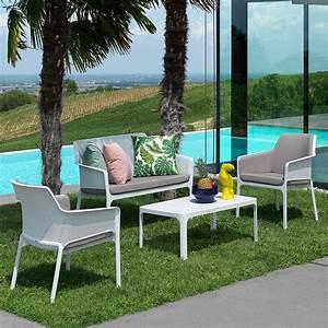 Salon De Jardin Blanc : salon de jardin polypropyl ne net blanc nardi zendart design ~ Teatrodelosmanantiales.com Idées de Décoration