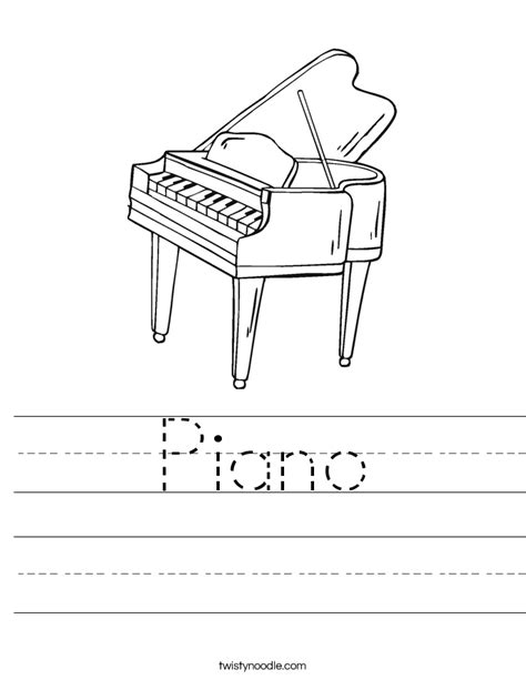 Piano Worksheet  Twisty Noodle