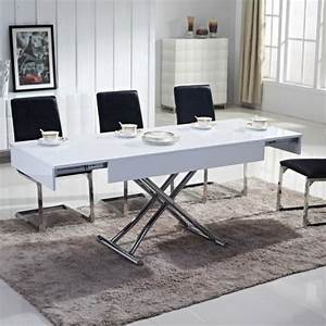 TABLE BASSE RELEVABLE EMA LAQUEE BLANC Achat Vente