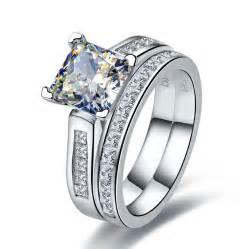 14K White Gold Synthetic Diamond Engagement Ring 2 Carat ...